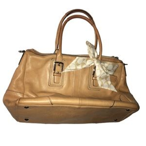 Coach Tan Brown Cream Leather Satchel With Strap